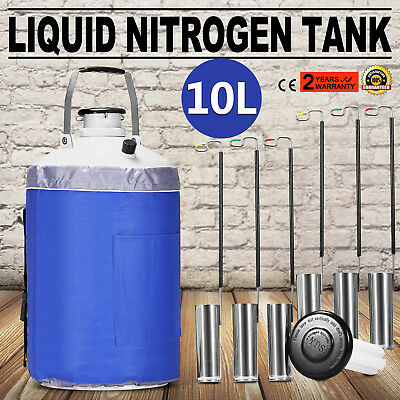 10L LIQUID NITROGEN CONTAINER LN2 TANK DEWAR Biomedical Cryogenic With Straps