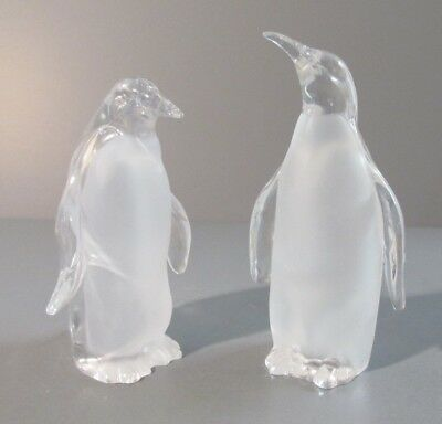 "Pair of Roman, Inc. Acrylic Clear / Frosted ""Penguin"" Figurines"