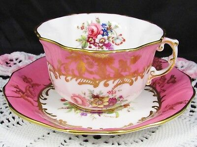 Hammersley Lady Patricia Signed Ornate Gold Pink Tea Cup And Saucer