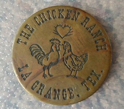 vtg The Chicken Ranch Brothel Token Coin $3 Good For All Night La Grange Texas