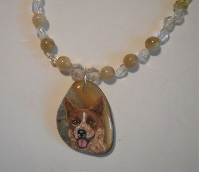 Australian Cattle Dog Necklace Hand Painted Agate Pendant