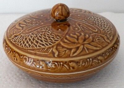 Collectible Made In China Porcelain Caramel Coloured Bowl Fish & Floral Designs
