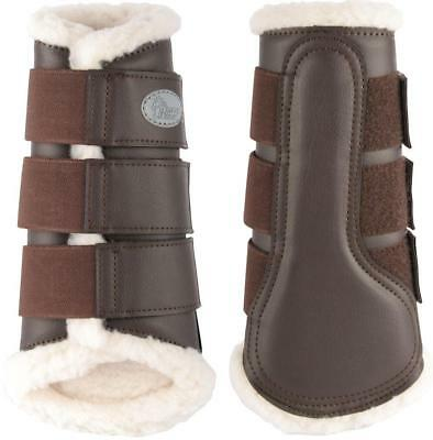 Flextrainer Horse Protection Boots with Fleece Lining. Brown Harry's Horse