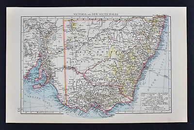 1887 Andrees Map - Australia Victoria New South Wales Melbourne Sydney Adelaide