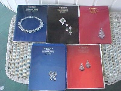 5 SOTHEBY'S AUCTION CATALOGs, MAGNIFICENT & IMPORTANT JEWELRY 1987-92