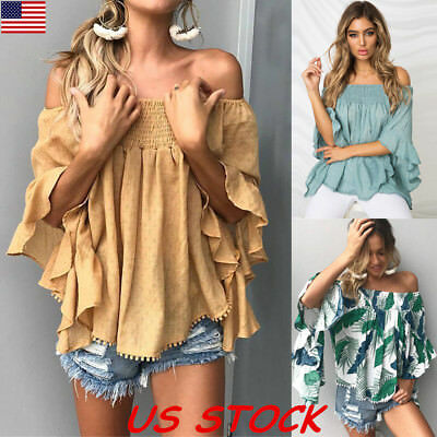 USA Womens Loose Off Shoulder Blouse Tops Ladies Floral Baggy Casual T Shirt Top