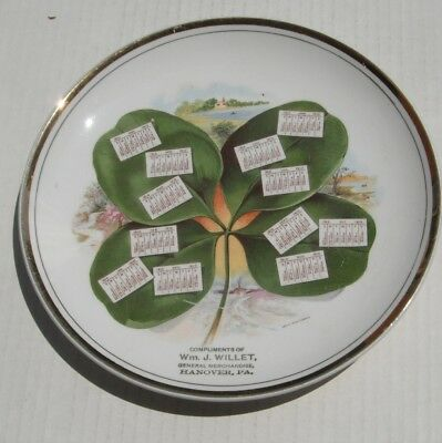 Calendar Plate..1910..old 405-ee...Wm Willet  Hanover Pa...vintage Dresden China