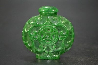 Vintage Collectible handwork Old green color Jade chinese coin Snuff Bottle