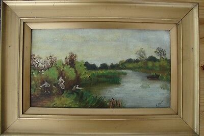 An Old Gilt Framed Oil On Canvas Painting Country Scene River Fishing E.allison