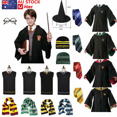 Harry Potter Gryffindor Slytherin Hufflepuff Ravenclaw Costume Robe Tie Wand AU