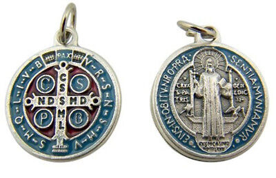 Silver Toned Base with Blue Red Enamel Saint Benedict Rosary Medal,  1 Inch