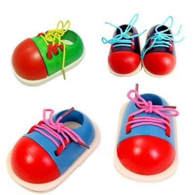 1pc Kid Children Montessori Wooden Toy Toddler Lacing Shoes Early Education