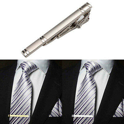 Silver Tie 60mm Clip Tone Metal Plain Solid Clasp Bar Pin Mens Personalised Gift