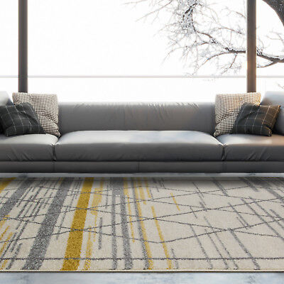 Moroccan Ochre Yellow Grey Trellis Living Room Rugs Soft Geometric Area Rugs UK