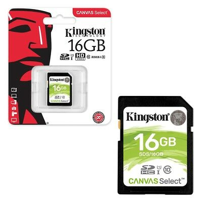16GB Kingston Canvas Select SDHC SD Memory Card Class 10 UHS-I 80MB/s 16GB