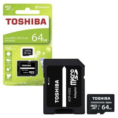 64GB Toshiba Micro SD SDXC Memory Card 100MB/s with SD Card Adapter 64GB