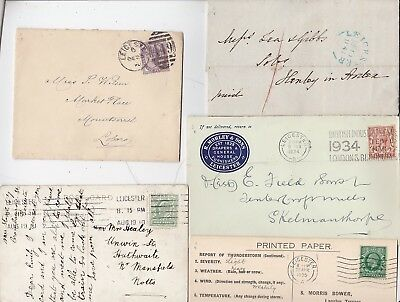 # 1842/1934 5 x LEICESTER POSTAL HISTORY COVERS CARDS ADVERT THUNDERSTORM CENSUS