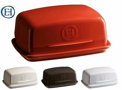 Emile Henry Ceramic Butter Dish with Ridged Base in Red, Cream, White & Black