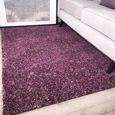 Modern Thick Soft Two Tone Purple Shaggy Rugs Non Shed Mottled Shag Carpet Rug