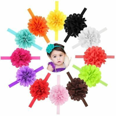 12 PCS/Lot Chiffon Flower Headband Hair Band Bow for Baby Girl Toddlers Infants