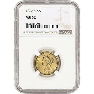 US Gold $5 Liberty Head Eagle - NGC MS62 - Random Date