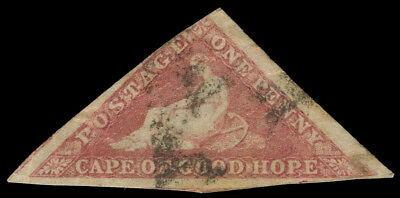 Cape of Good Hope 1855 1d rose used cat £300 ($405). SG 5a. Sc 3
