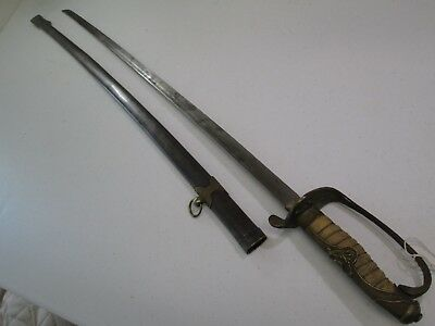 Wwii China Chinese Officers Parade Sword With Scabbard Ray Shin Grip #c70