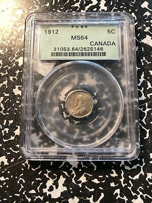 1912 Canada 5 Cent Silver PCGS MS64 Lot#G855 Nice UNC Example! OGH