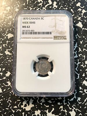 1870 Canada 5 Cent Silver NGC MS62 Lot#G856 Nice UNC Example! Wide Rims