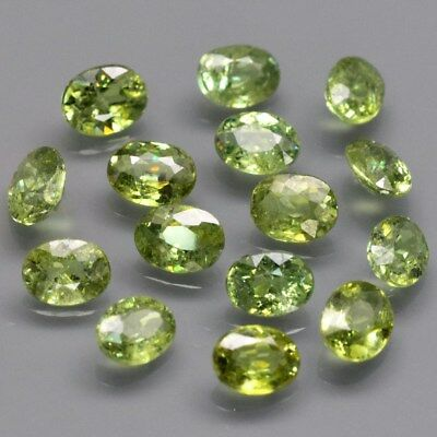 15pcs Lot 3.16ct t.w Oval Natural Yellowish Green Demantoid Garnet, Madagascar