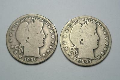 1906-S & 1907 Barber Half Dollars, Good Condition - C5621