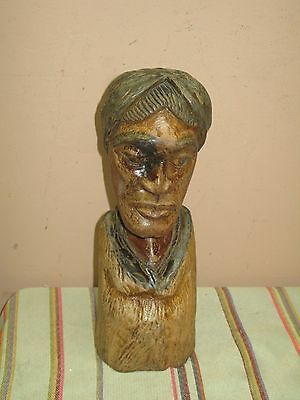 """Vintage Old Tribal Ethnic Art Carved Wood Statue Bust Figure African  11"""" Tall"""