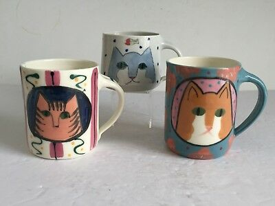 3 Piece Lot Vintage Signed SOLVEIG COX Studio Pottery PAINTED CAT Coffee Mugs