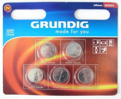 5x CR2032 LITHIUM KNOPFZELLE 3V CR 2032 GRUNDIG MADE FOR YOU #5542002