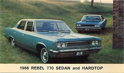 (#673) 1968 Rambler Rebel 770 Sedan & Hardtop AMC Automobile Car Dealer Postcard