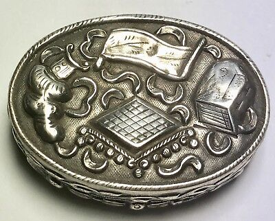 Antique Sterling Silver Chinese Pill Snuff Trinket Hiinged Box Repousse