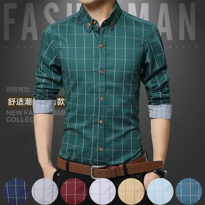 Mens Plaid Casual Shirts Tailoring Slim Fit 100% Cotton Business Formal Shirts