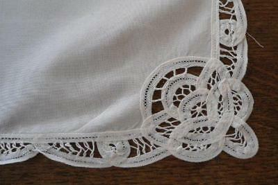 Vintage White Linen Battenburg Tape Lace Placemats Set of 5 Doilies