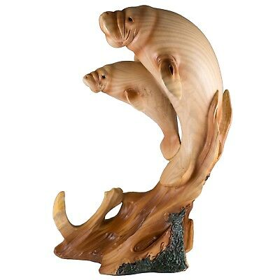 "Manatee Mother and Baby Figurine Faux Carved Wood Look 9"" High Resin New!"