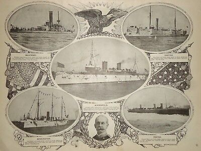 Vintage 1898 US NAVY CRUISER MINNEAPOLIS Old Antique Original Atlas Illustration