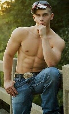 Shirtless Male Muscular Beefcake Country Muscle Hunk Red Neck PHOTO 4X6 C10