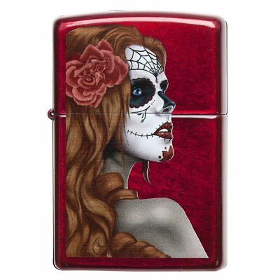 Zippo 28830 Windproof Lighter Day Of Dead Girl Candy Apple Red, Translucent