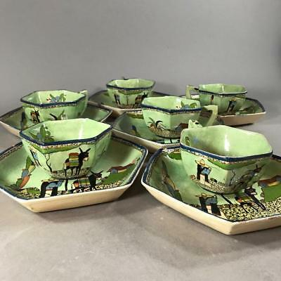 Six Vintage Mexican Tlaquepaque Pottery 'Man & Donkey' Hexagonal Cups & Saucers