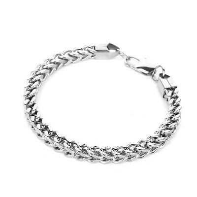 Heavy Stainless Steel Square Curb Wheat Chain Link Bracelet Womens Bangle Silver