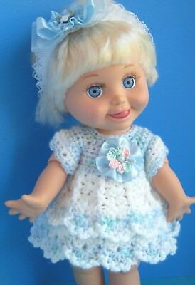 Pretty DRESS for 13 in. Galoob Baby Face Dolls - Hand Crocheted -Blue & White