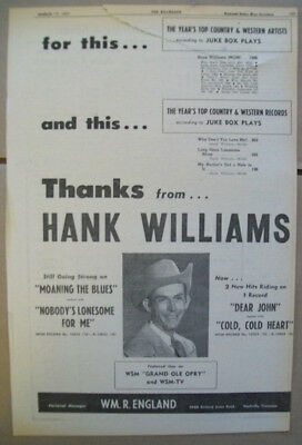 Thanks from Hank Williams 1951 Ad- top juke box artist