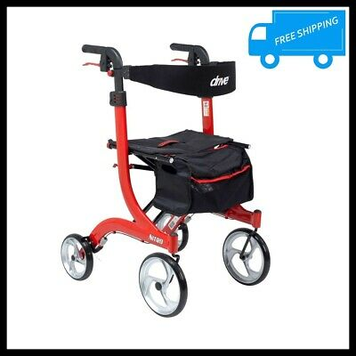 Euro Style Tall 4 Wheel Rollator Rolling Foldable Walker Adult Mobility Aid Red