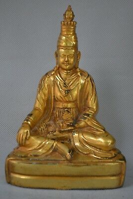 Collectible Old Copper gold handwork carve buddha Chinese rare hand big Statue
