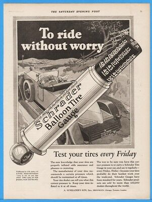 1926 Schrader's Son Brooklyn NY Balloon Tire Gauge Ball Foot Automotive Art Ad