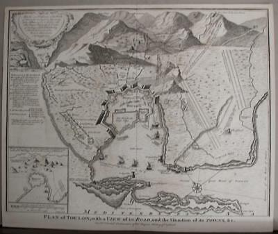 Toulon France 1745 Basile/rapin De Thoyras/tindal Antique Copper Engraved Map